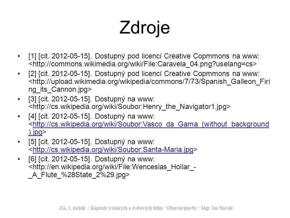 Zdroje [1] [cit. 2012-05-15]. Dostupný pod licencí Creative Copmmons na www: <http://commons.wikimedia.org/wiki/File:Caravela_04.png uselang=cs>
